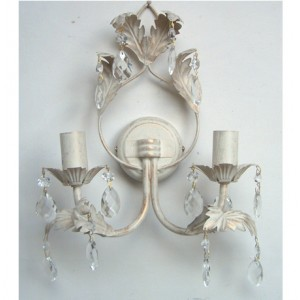 Flores 2 light wall light ivory gold leaf design